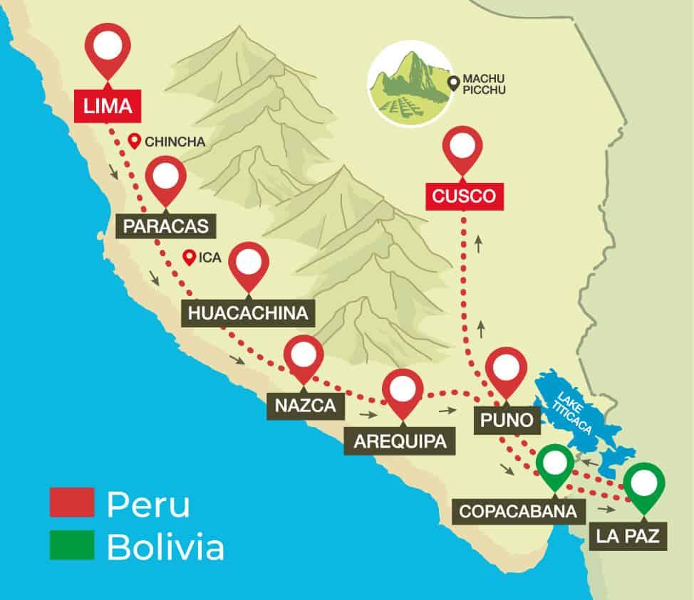Huacachina Peru Map.Bus Passes Peru Hop