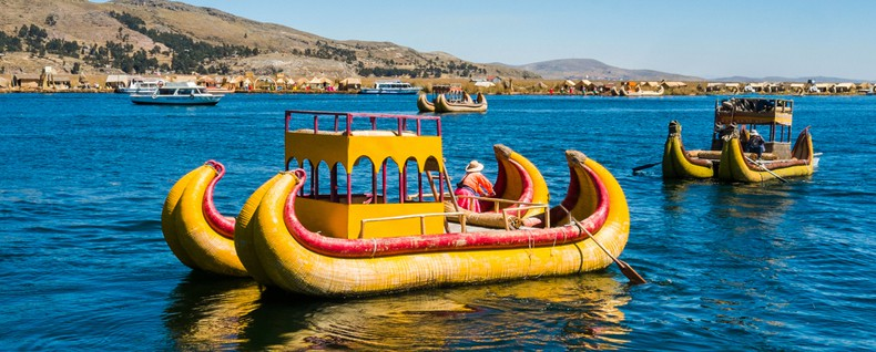 Traditional reed boats on lake Titicaca in Peru
