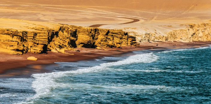 Red beach of Paracas National Reserve, Peru