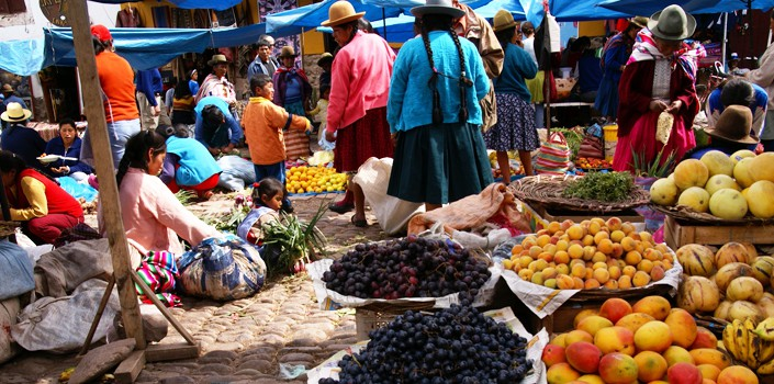 Fruit stand at local market in Cusco, Peru
