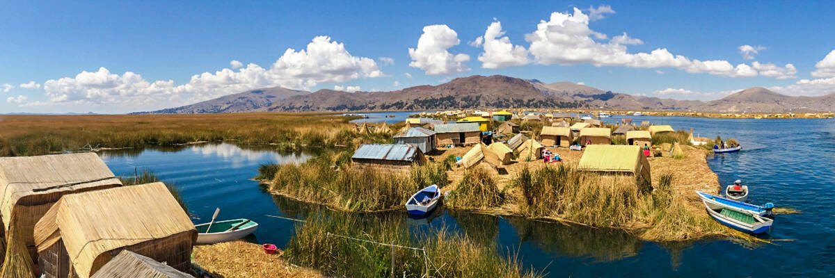 Floating Reed Islands in the middle of Lake Titicaca
