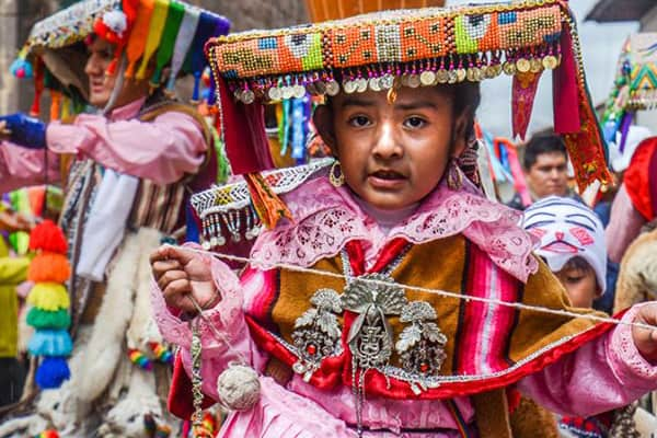 small girl at inti raymi festival