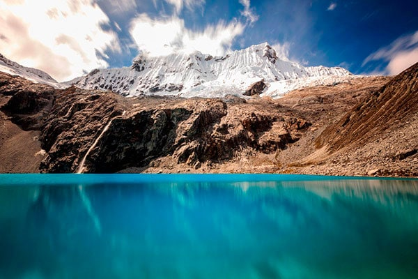 the beautiful blue of laguna 69, in the highlands of Huaraz, Peru