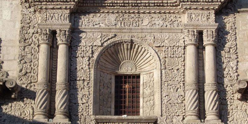 detalle de grabados de la iglesia de la compañía en Arequipa