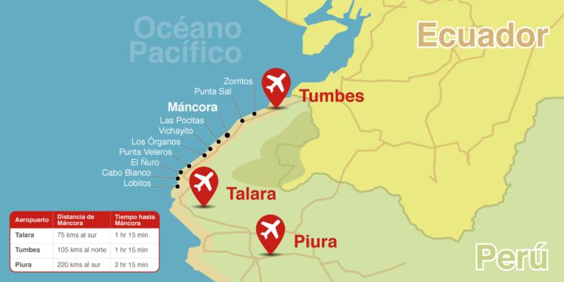 mapa dos aeroportos de Piura e Tumbes e as distâncias Máncora