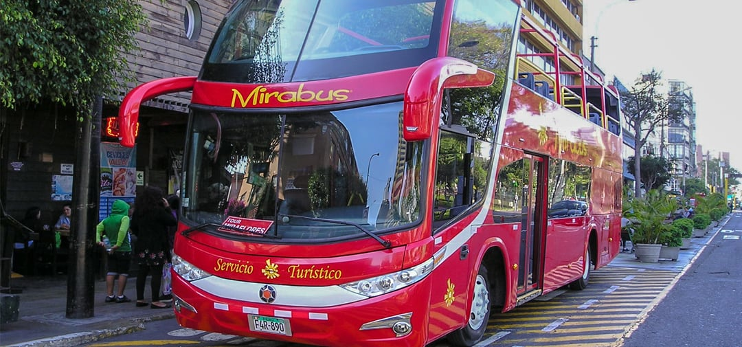 red sightseeing bus Mirabus  in Miraflores, Lima