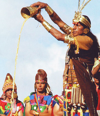 Inti Raymi Festival - Drink being poured