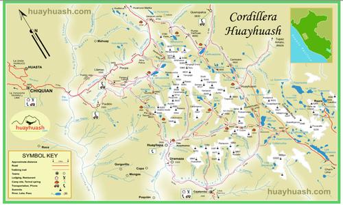 Cordillera Huayhuash Trek - Map of Cordillera Huayhuash