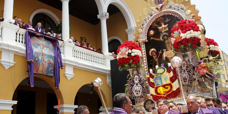 procession for El Señor de los Milagros in Lima Peru
