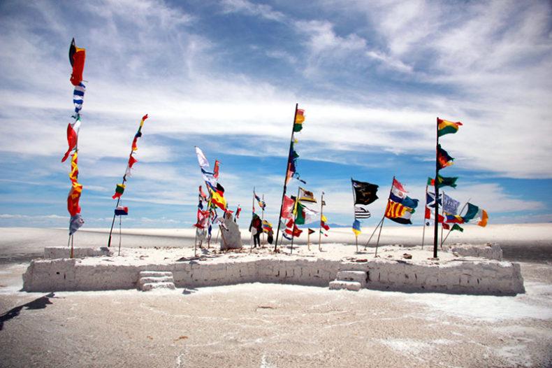 Uyuni flags- Bolivia in South America